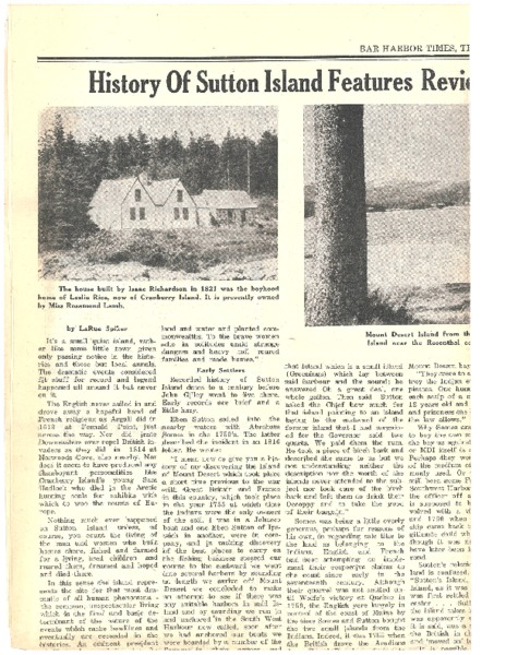 History of Sutton Island Features Review of Early Settlers and Island Homes