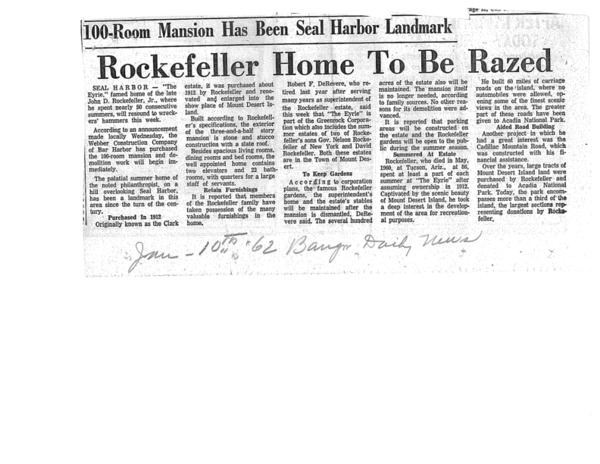 Rockefeller Home To Be Razed