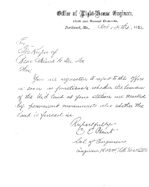 Letter from Office of the Light-house to Keeper of Bear Island Lighthouse