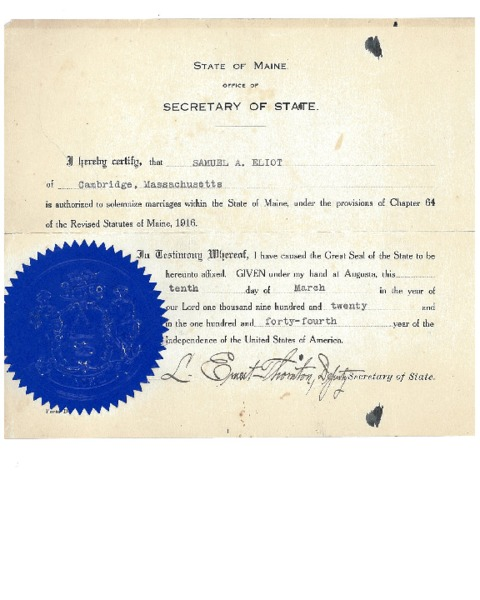 Samuel A. Eliot Authorization to Perform Marriages in Maine