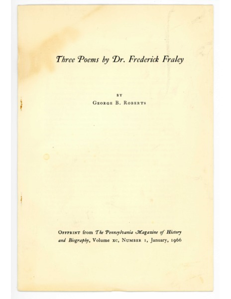 Collection of poetry by Dr. Frederick Fraley Sr.