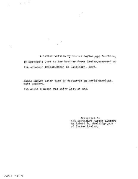 Letter to James Lawler from Louise Lawler