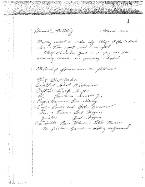 Copies of minutes of Otter Creek Fire Co.