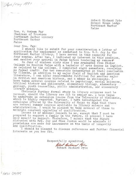 Letter of application for employment to Mrs. Rodman Fay