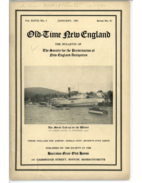 Old-Time New England - The Bulletin of the Society for the Preservation of New England Antiquities