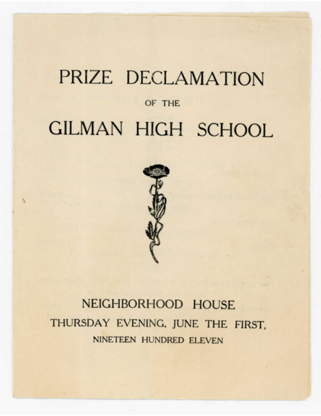 Prize Declamation of the Gilman High School, 1911