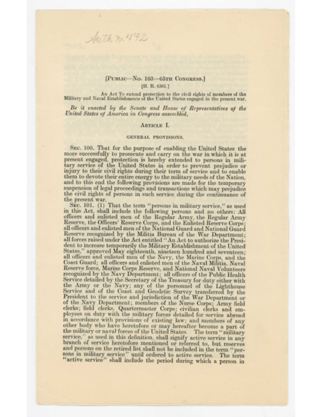 Soldiers' and Sailors' Civil Relief Act, 1918
