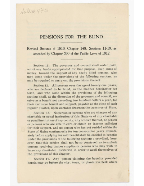 Pamphlet: Pensions for the Blind, 1917