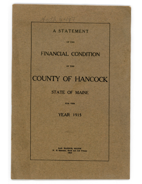 Financial Condition of the County of Hancock, 1916