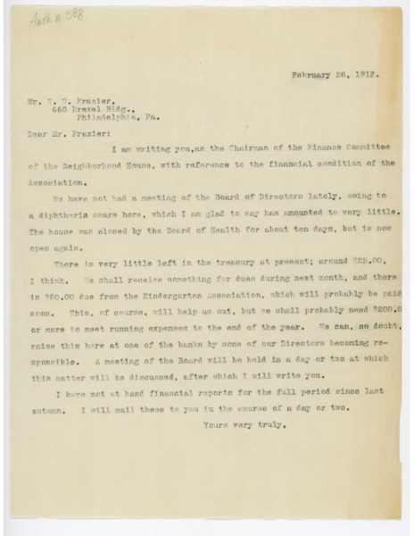 Letter: J. H. Knowles to W. W. Frazier