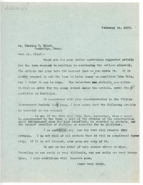 Letter: Jerome H. Knowles to Charles W. Eliot