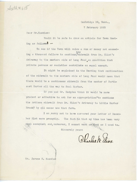 Letter: Charles W. Eliot to Jerome H. Knowles