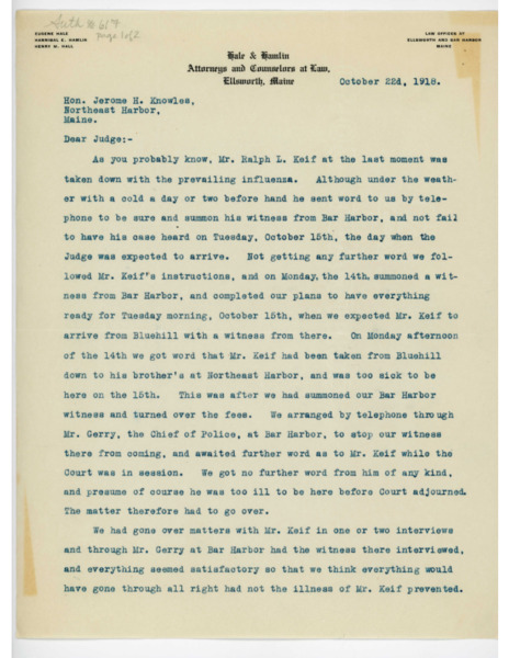 Letter: Hannibal E. Hamlin to Jerome H. Knowles