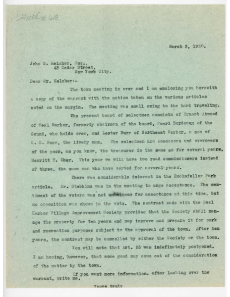 Letter: Jerome H. Knowles to John S. Melcher