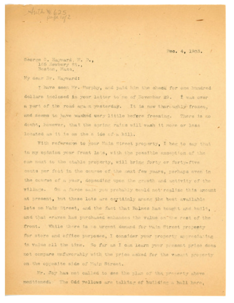 Letter: Jerome H. Knowles to George C. Hayward