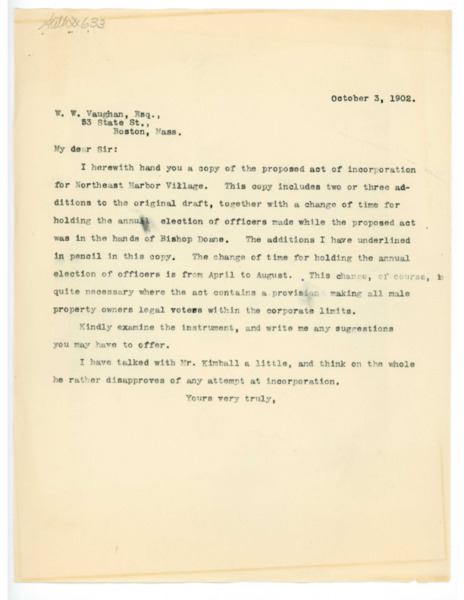Letter: Jerome H. Knowles to W. W. Vaughan