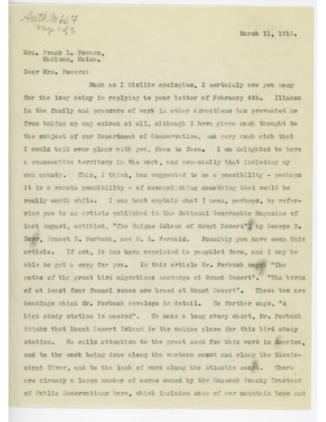 Letter: Belle Smallidge Knowles to Mrs. Frank L. Powers