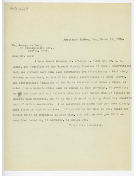 Letter: Belle Smallidge Knowles to George B. Dorr