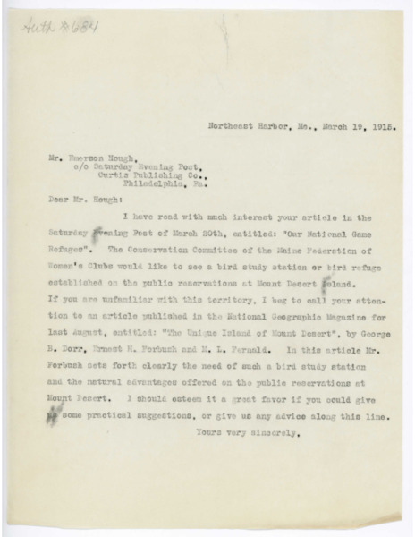 Letter: Belle Smallidge Knowles to Emerson Hough