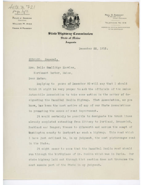 Letter: Paul D. Sargent to Belle Smallidge Knowles