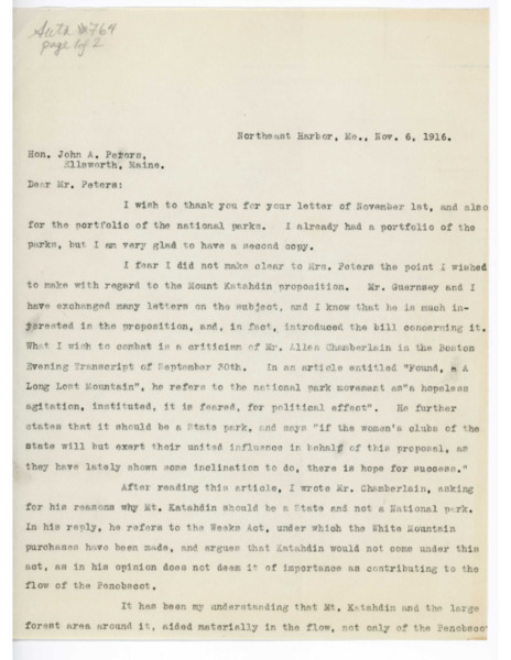 Letter: Belle Smallidge Knowles to John A. Peters