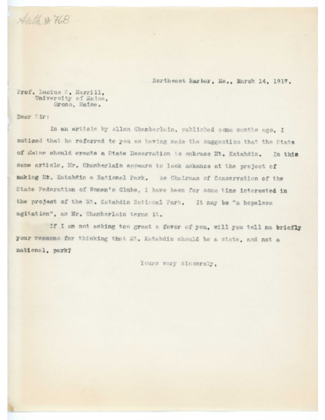 Letter: Belle Smallidge Knowles to Lucius H. Merrill
