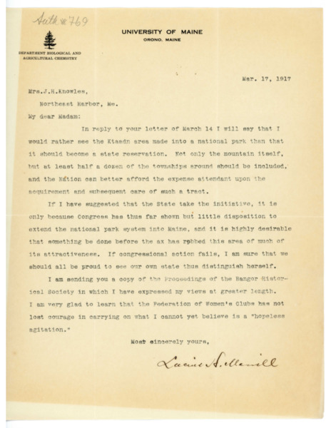 Letter: Lucius H. Merrill to Belle Smallidge Knowles