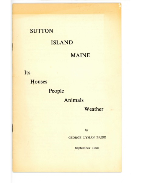 Sutton Island Maine: Its Houses, People, Animals, Weather