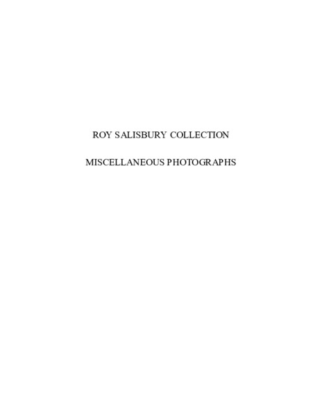 Roy Salisbury Collection - Miscellaneous