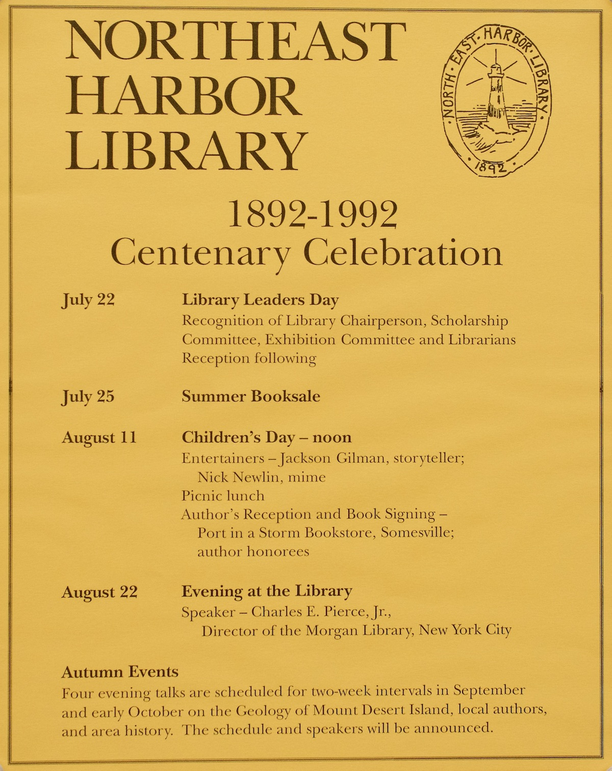Northeast Harbor Library Centenary Celebration