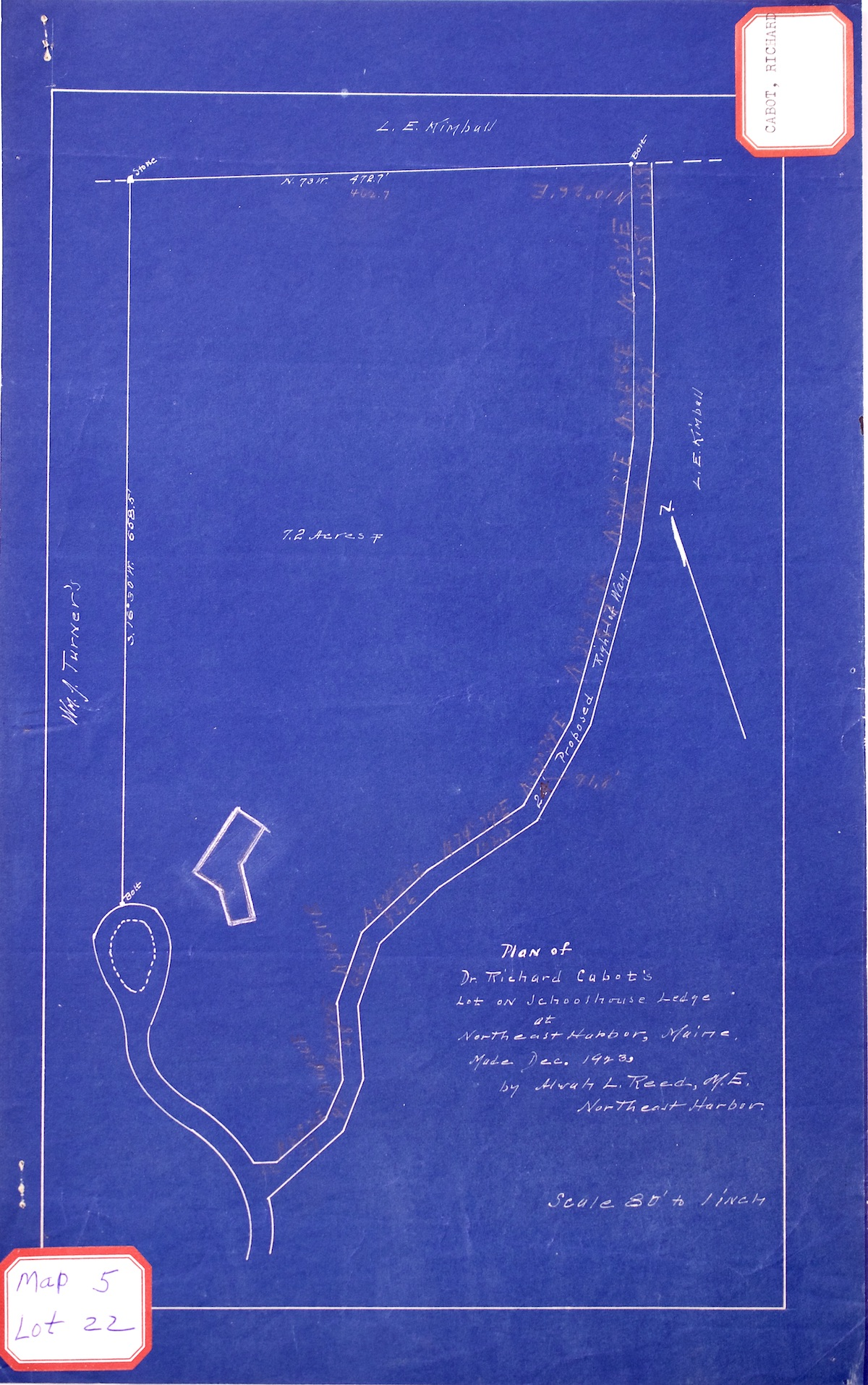 Plan of Dr. Richard Cabot's Lot on Schoolhouse Ledge