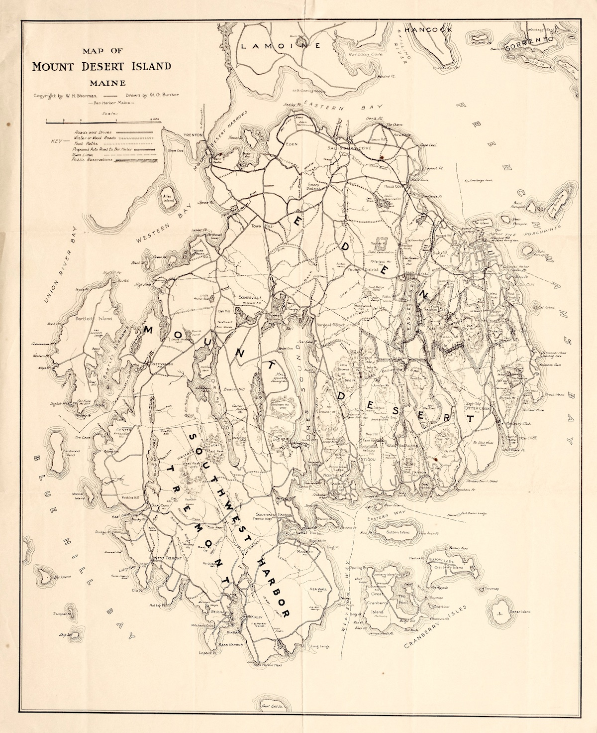 Road and Path Map of Mount Desert Island