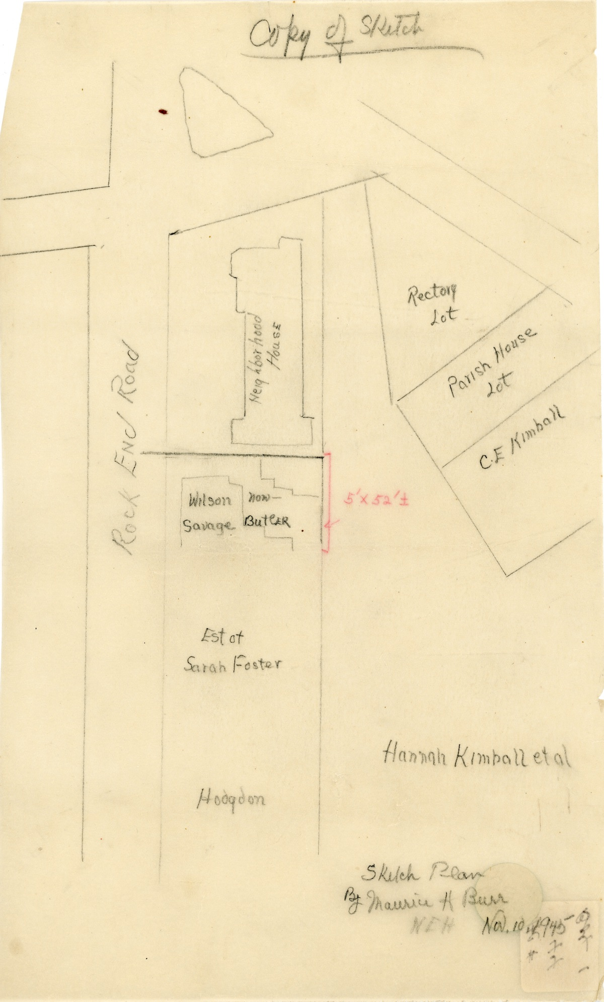 Sketch plan of land between Rock End and Kimball Rds.