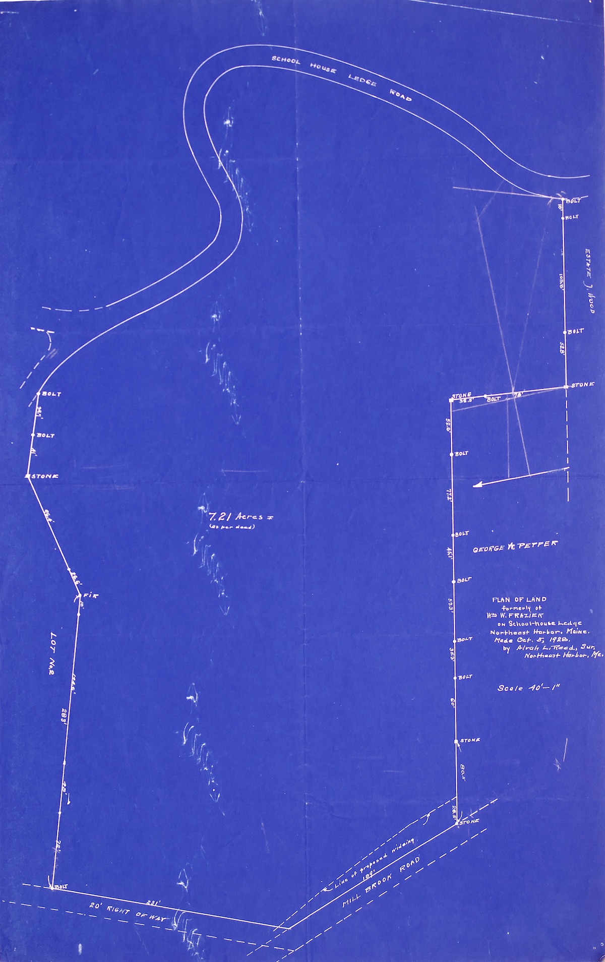 Plan of land of William W. Frazier property on Schoolhouse Ledge