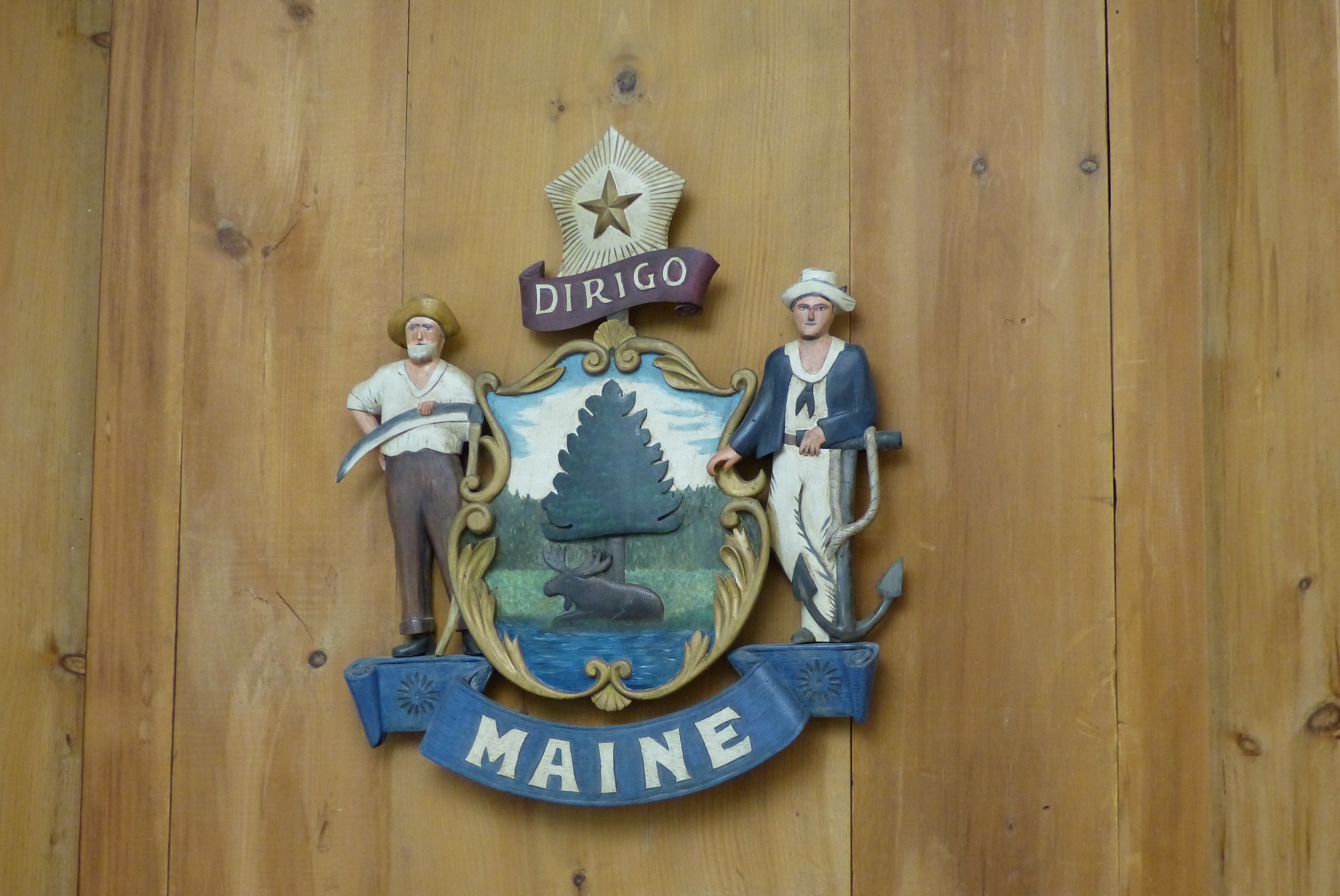 Coat of Arms of State of Maine, carving
