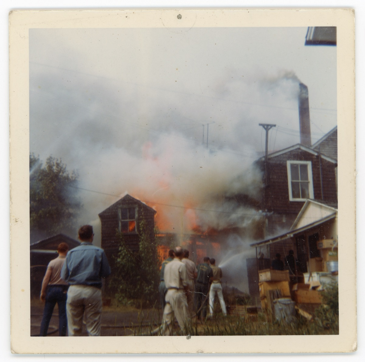 Burning of Des Isle Building